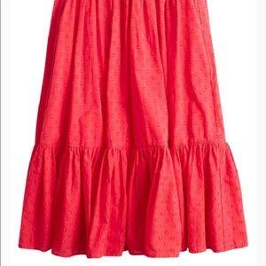 J crew red midi skirt size 2